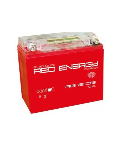 Аккумулятор 12В10Ач RED ENERGY RE1210 (12N9-4B-1/YB9A-A/YB9-B) (гелевый, красный) (прямая полярн) (137*77*135мм)