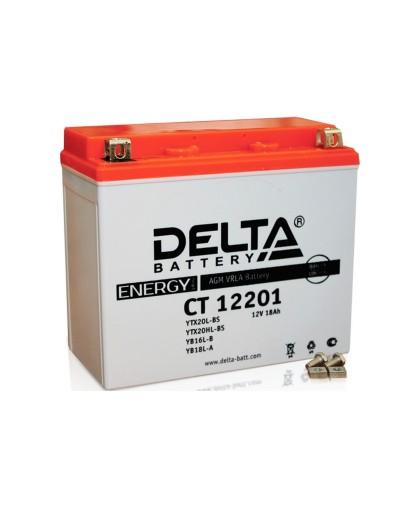 Аккумулятор 12В20Ач DELTA CT12201 (YTX20L-BS) (кислотн, герметичный) (обратн полярн) (175*86*155мм) (ArcticCat, Brp-Sci-Doo ZX, Polaris550,750,800, Yamaha973,1000,1049)
