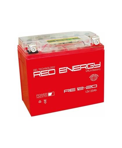 Аккумулятор 12В20Ач RED ENERGY RE1220 (Y50-N18L-A3) (гелевый, красный) (обр. полярн) (204*91*159мм) (ArcticCat, BRP-Sci-Doo, Kawasaki, Polaris750, Yamaha 340, 540, 600, 700)