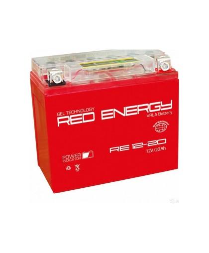 Аккумулятор 12В20Ач RED ENERGY RE12201 (YTX20L-BS) (гелевый, красный) (обратн полярн) (175*87*154мм)