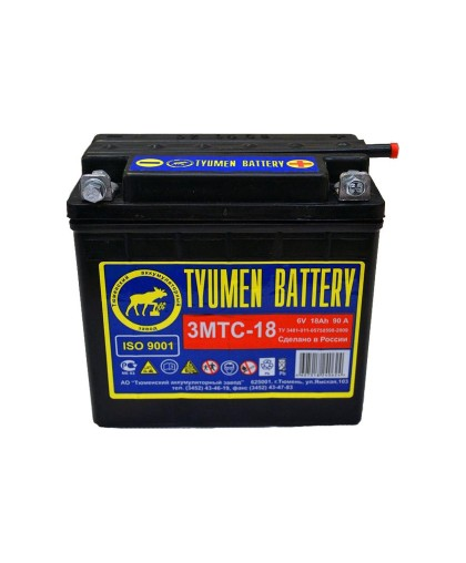 Аккумулятор 6В 18А г.Тюмень (3МТС-18А) (140х77х135)