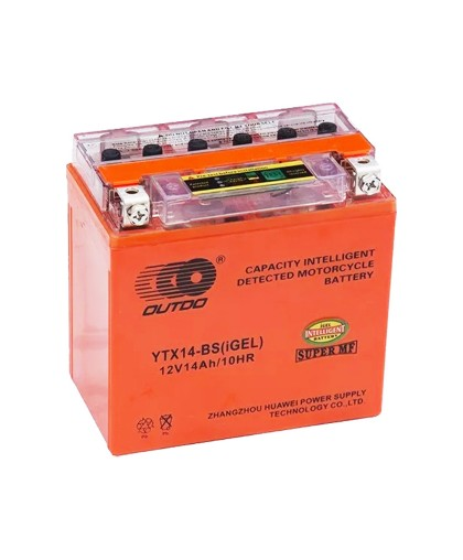 Аккумулятор OUTDO 12В 14 А/ч YTX14L-BS iGEL, (151 х 88 х 147) прямая полярность