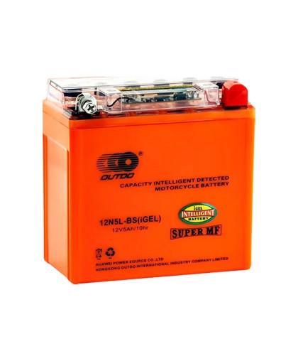 Аккумулятор OUTDO 12В 5 А/ч 12N5L-BS индикатор iGEL, (120 х 61 х 129) обратная полярность