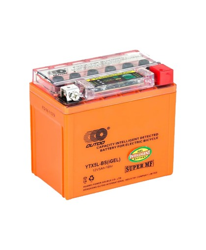 Аккумулятор OUTDO 12В 5 А/ч UTX5L-BS индикатор iGEL, (114 х 70 х 106) обратная полярность