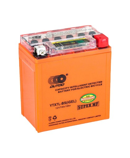 Аккумулятор OUTDO 12В 7 А/ч YTX7L-BS индикатор iGEL, (114 х 71 х 131) обратная полярность