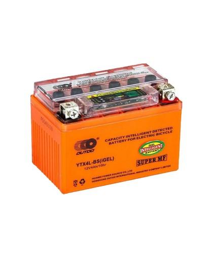 Аккумулятор OUTDO 12В 4 А/ч UTX4L-BS индикатор iGEL, (114 х 70 х 86) обратная полярность