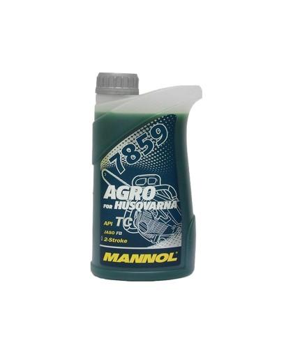 Масло MANNOL AGRO for Husqvarna API TC JASO FB (1л) 2-х тактное, синтетическое, синее 7859